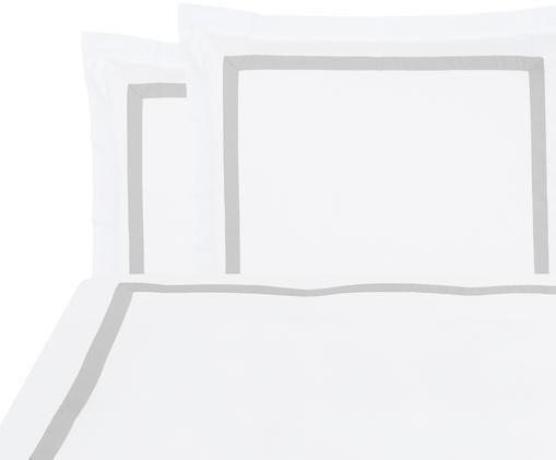 Baumwollsatin-Bettwäsche Nora in Weiß/Hellgrau, Weiß, Hellgrau, 200 x 200 cm