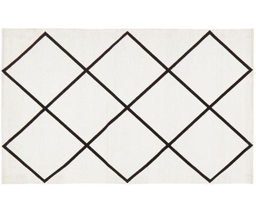 Tappeto in cotone tessuto a mano Farah, Cotone, Bianco crema, nero, Larg. 50 x Lung. 80 cm (taglia XXS)