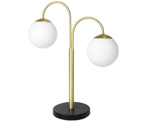 Lampa stołowa Caspa, Klosz: biały oprawa lampy: mosiężny szczotkowany Gniazdo i kabel: czarny