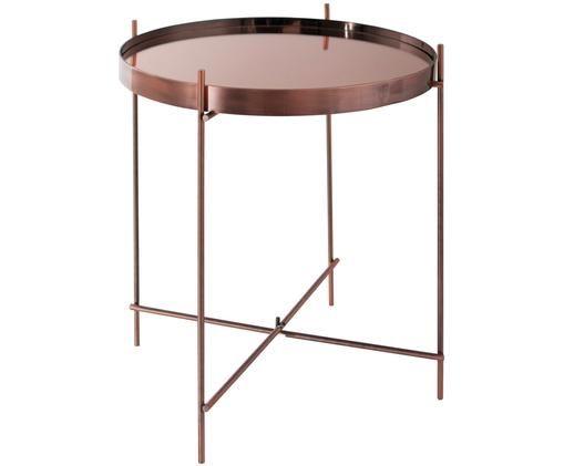 Mesa auxiliar con bandeja de cristal extraíble Cupid, Estructura: metal, cobre, Tablero: vidrio, Cobre, Ø 43 x Al 45 cm