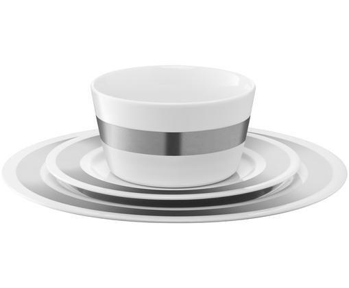 Serwis Space, 3 elem., Biały, odcienie srebrnego