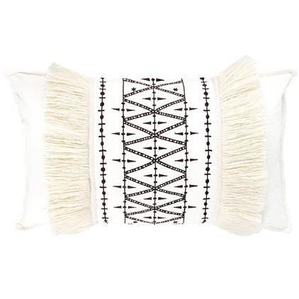 Geborduurde kussenhoes Berbère Froufrou met franjes, Franjes: wolmix, Wit, zwart, 30 x 50 cm