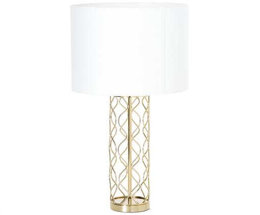 Tafellamp Adelaide, Lampenkap: crèmekleurig. Lampvoet: goudkleurig