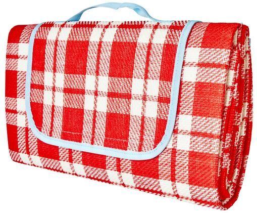 Koc piknikowy Checked, Czerwony, biały, jasny niebieski, S 150 x D 150 cm
