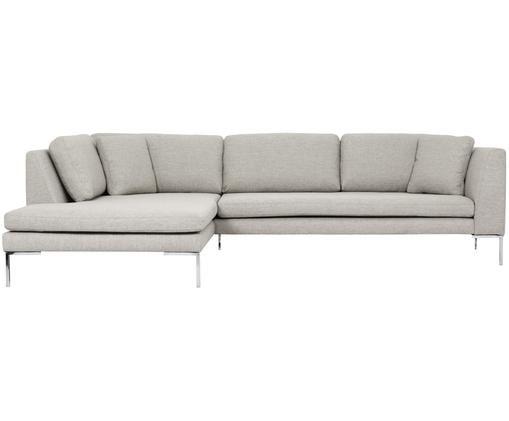 Hoekbank Emma, Bekleding: polyester, Frame: massief grenenhout, Poten: gegalvaniseerd metaal, Beige, B 302 x D 220 cm