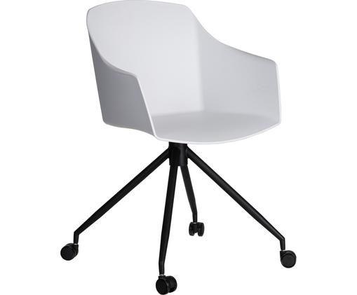 Kancelárska stolička s kolieskami Valencia, biela, Biela, čierna