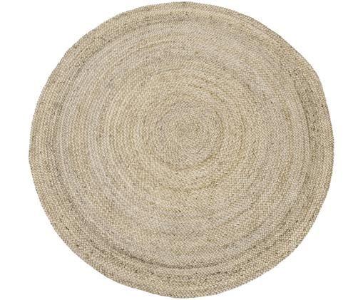 Runder Jute-Teppich Sharmila, handgefertigt, Beige, ∅ 140 x H 0,7 cm