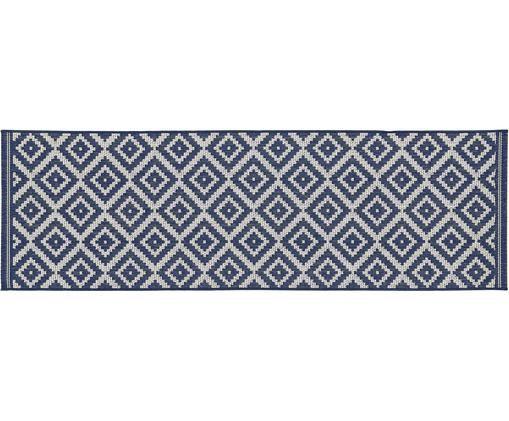 Passatoia da interno-esterno Miami, Vello: polipropilene, Retro: poliestere, Bianco, blu, Larg. 80 x Lung. 250 cm