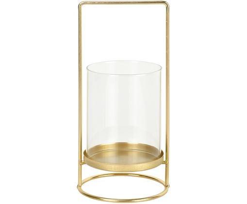 Portavelas Gurn, Estructura: metal, recubierto, Dorado, transparente, Ø 12 x Al 26 cm