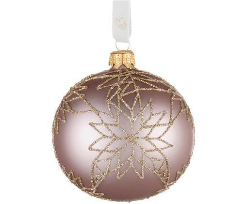 Palla di Natale Cadelia, 2 pz., Rosa, dorato