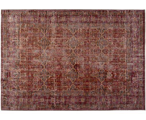 Vintage In- und Outdoorteppich Tilas Izmir in Dunkelrot, Dunkelrot, Senfgelb, Khaki, B 120 x L 170 cm (Größe S)