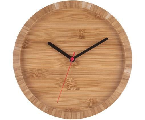 Orologio da parete Tom, Bambù, Bambù, nero, rosso, Ø 26 cm