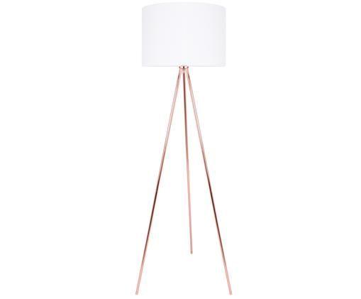 Lampadaire Vivi, Abat-jour: blanc, pied de lampe: cuivré, câble: blanc