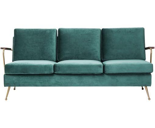 Samt-Sofa Gamble (3-Sitzer), Grün