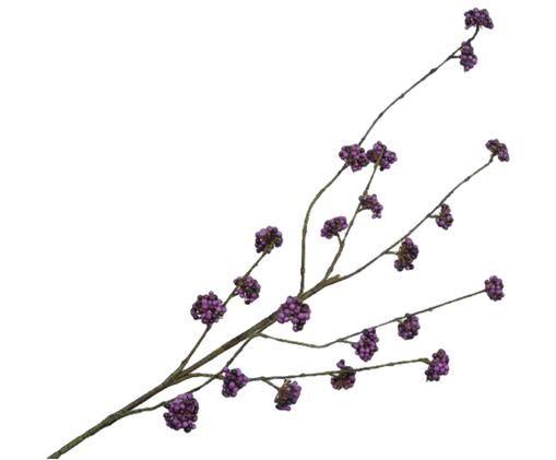 Kunstblume Callicarpa, Kunststoff, Metall, Schaumstoff, Violett, Grün, 15 x 94 cm