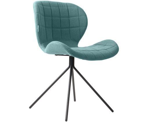 Gestoffeerde stoel OMG, Bekleding: polyester, Frame: gepoedercoat staal, Petrolkleurig, 51 x 80 cm