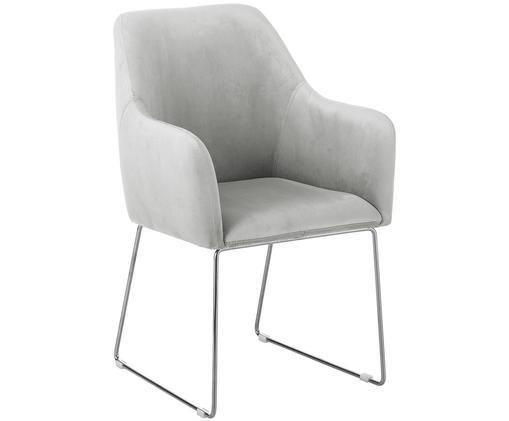 Moderner Samt-Polsterstuhl Isla mit Armlehne, Bezug: Samt (Polyester) 50.000 S, Beine: Metall, beschichtet, Hellgrau, B 58 x T 62 cm