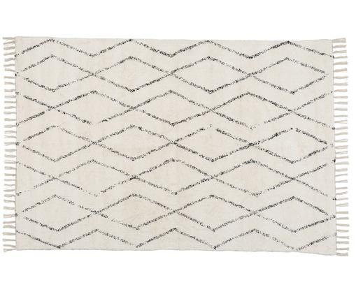 Waschbarer Teppich Berber mit Fransen, handgewebt, Baumwolle, Grau, Cremeweiß, B 140 x L 200 cm (Größe S)