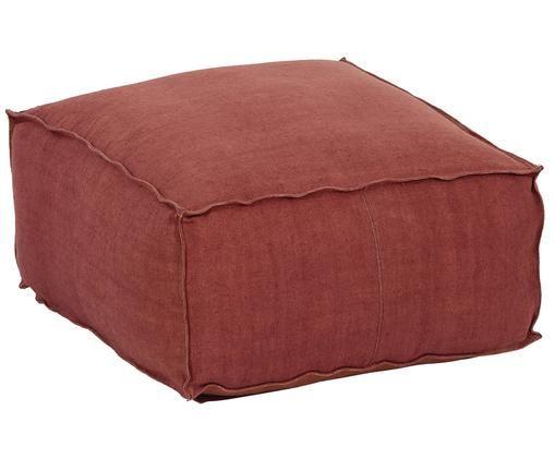 Handgemaakte linnen vloerkussen Saffron, Bekleding: linnen, Onderzijde: katoen, Roodbruin, 50 x 25 cm