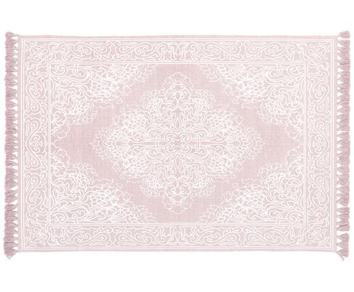 Tapis en coton tissé à la main Salima, Rose, blanc crème