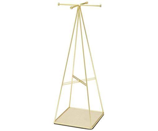Sieradenhouder Prisma, Staal, Messing, mat, beige, 14 x 36 cm