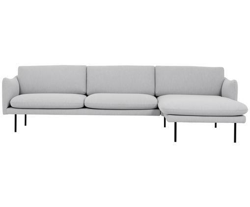 Ecksofa Moby, Bezug: Polyester 60.000 Scheuert, Gestell: Massives Kiefernholz, Hellgrau, B 280 x T 160 cm