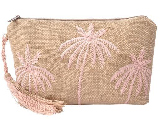 Borsa cosmetica Palm Tree, Marrone, rosa, Larg. 22 x Alt. 14 cm