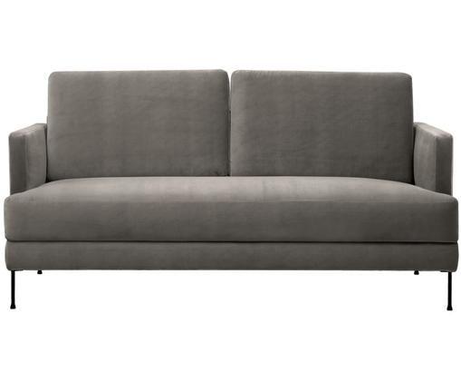Samt-Sofa Fluente (2-Sitzer), Bezug: Samt (Hochwertiger Polyes, Gestell: Massives Kiefernholz, Füße: Metall, lackiert, Samt Braungrau, B 168 x T 83 cm