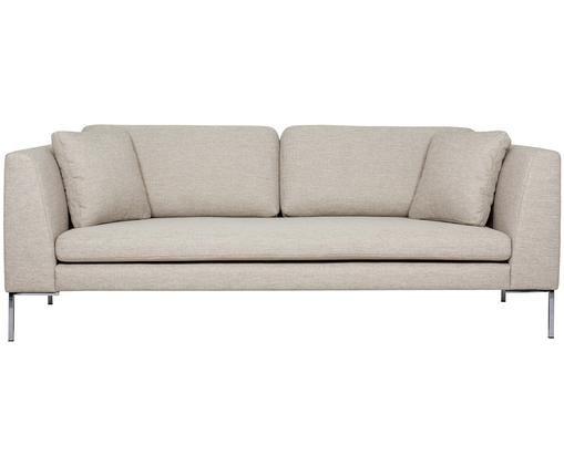 Sofa Emma (3-Sitzer), Bezug: Polyester 100.000 Scheuer, Gestell: Massives Kiefernholz, Füße: Metall, galvanisiert, Webstoff Beige, Füße Silber, B 227 x T 100 cm
