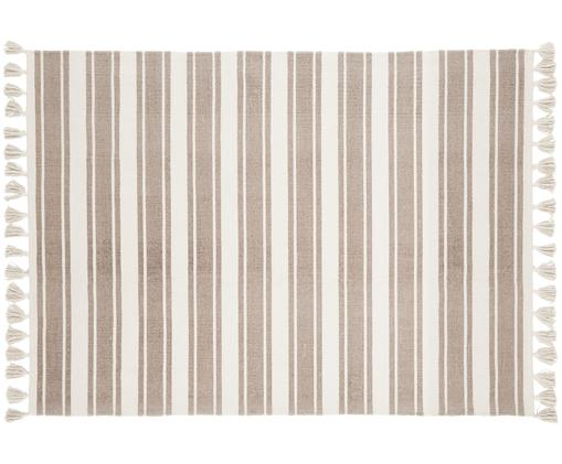 Gestreifter Baumwollteppich Vigga mit Quasten, handgewebt, Taupe, Beige, B 120 x L 180 cm (Grösse S)