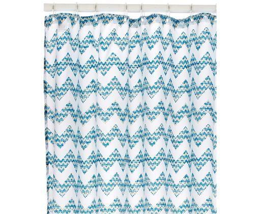 Duschvorhang Cassie mit Zickzack-Muster, Polyester, digital bedruckt Wasserabweisend, nicht wasserdicht, Petrol, Weiß, 180 x 200 cm