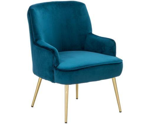 Samt-Sessel Poltrona, Bezug: DunkelblauFüße: Goldfarben