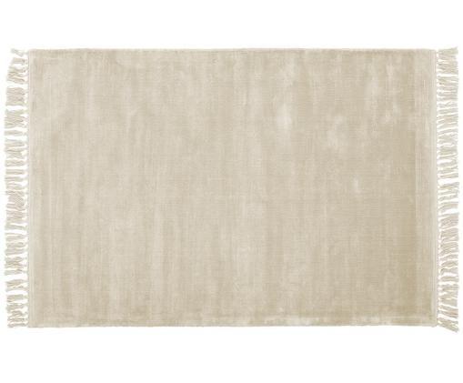 Handgeweven viscose vloerkleed Aria met franjes in wit, Bovenzijde: 100% viscose, Onderzijde: 100% katoen, Ivoorkleurig, B 120 x L 180 cm (maat S)