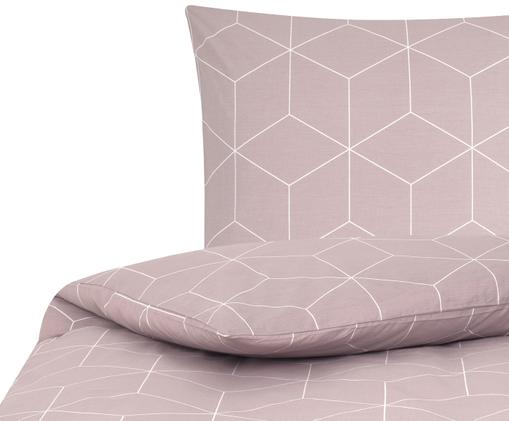 Renforcé-Bettwäsche Lynn mit grafischem Muster, Webart: Renforcé, Altrosa, Cremeweiss, 155 x 220 cm