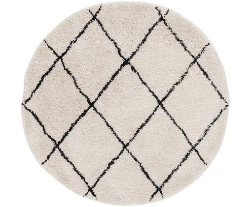 Runder Teppich Naima, handgetuftet, Flor: 100% Polyester, Beige, Schwarz, Ø 140 cm
