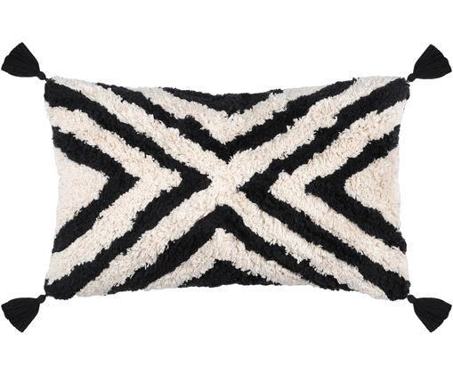 Kissen Burundi, mit Inlett, Creme, Schwarz, 30 x 50 cm