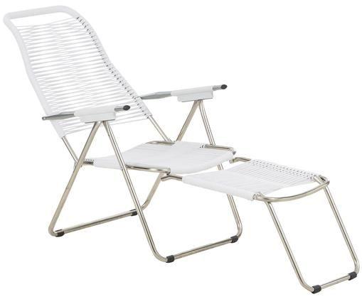 Leżak z podnóżkiem Spaghetti, Stelaż: aluminium, Biały, S 60 x G 48 cm
