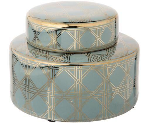 Tibor de porcelana Egypt, Porcelana, Turquesa, dorado, Ø 23 x Al 16 cm