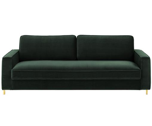 Samt-Sofa Chelsea (3-Sitzer), Bezug: Samt (Hochwertiger Polyes, Gestell: Massives Fichtenholz, Füße: Metall, beschichtet, Dunkelgrün, B 228 x T 100 cm