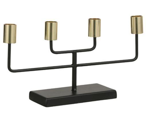Kerzenhalter Pavlla, Metall, beschichtet, Schwarz, Messingfarben, 31 x 17 cm