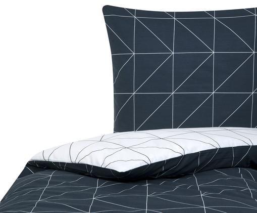 Renforcé-Wendebettwäsche Marla mit grafischem Muster, Webart: Renforcé Fadendichte 144 , Navyblau, Weiss, 155 x 220 cm