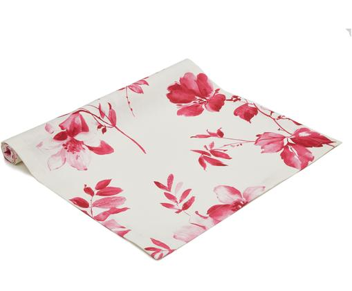 Runner Yamina, Cotone, Bianco, tonalità rosa, Larg. 50 x Lung. 140 cm