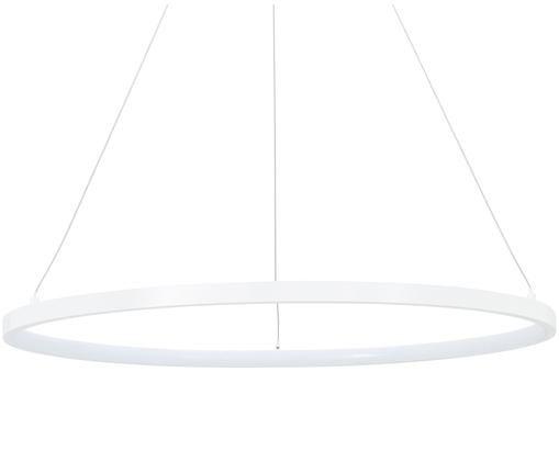 Lampada a sospensione a LED Jay, Baldacchino: Alluminio verniciato a po, Paralume: Alluminio verniciato a po, Baldacchino: bianco opaco Paralume: bianco opaco Cavo: argento, Ø 60 x Alt. 150 cm