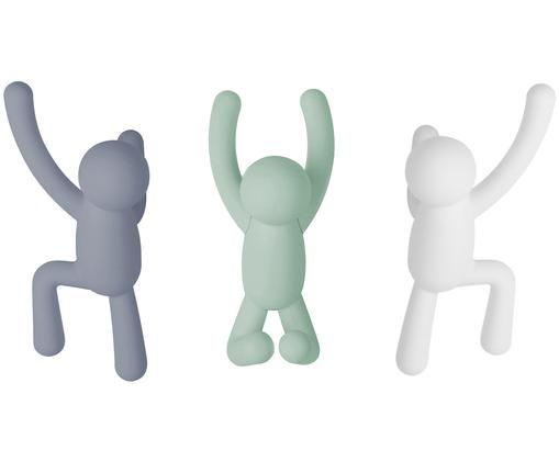 Wandhakenset Buddy, 3-delig, ABS-kunststof, Blauw, mintgroen, wit, Verschillende formaten