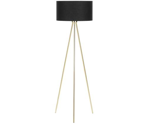 Lampadaire en métal doré Cella, Noir, couleur dorée