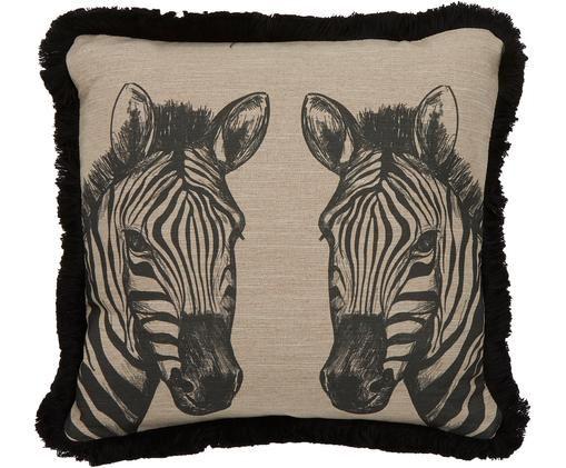 Cuscino Zebra, con imbottitura, Rivestimento: poliestere, Beige, nero, Larg. 43 x Lung. 43 cm