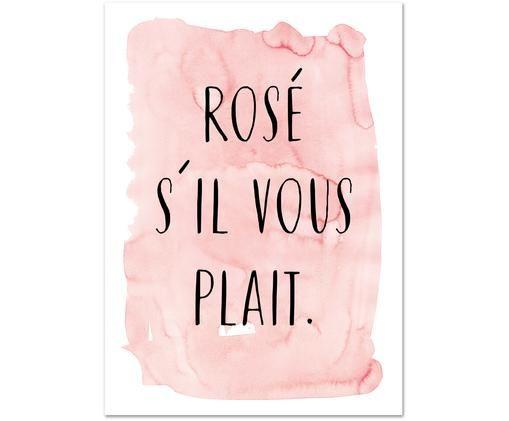 Poster S'il Vous Plait, Rosa, nero, bianco