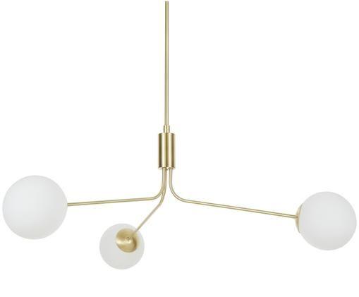 Lampada a sospensione Darcy, Baldacchino: metallo spazzolato, Paralume: vetro, Ottone, bianco, Ø 15 x Alt. 85 cm