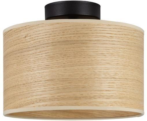 Plafonnier en bois de chêne Tsuri, Bois de chêne, noir, mat
