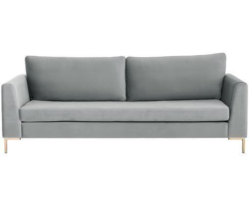 Samt-Sofa Luna (3-Sitzer), Bezug: Samt (Polyester) 80.000 S, Gestell: Massives Buchenholz, Füße: Metall, galvanisiert, Beigegrau, B 230 x T 95 cm